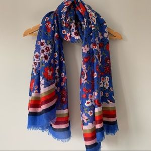 Blue red floral print spring large scarf/wrap